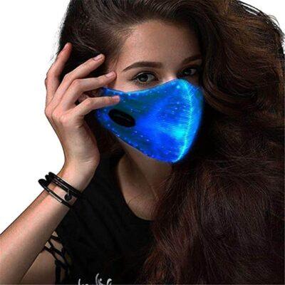 Pimeässä hoihtava LED-kasvomaski halloween sininen